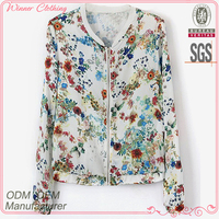 direct factory good quality flora printed simple neck designs for ladies tops