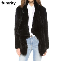 SF0235 Hot Selling Top Quality Cropped Long Sleeve Genuine Rabbit Hand knit Fur Coat