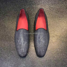 Heyco high quality custom logo stingray skin leather loafer red bottom shoes men