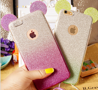fashionable mobile Minnie Mickey Mouse Ears silicone Glitter Gradient Case for Case Cover with Hang rope phone cases