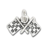 Online Wholesale Zinc Alloy Black and White Checkered Flags Bracelet Charms