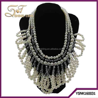 Wholesale Multilayer white pearl chunky bead necklace for women