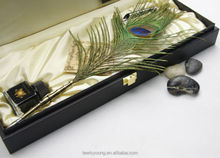 luxury leather PU feather pen set,quill feather fountain pen set PU