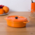 Porcelain baking pans orange color decorative ceramic bakeware with lid