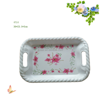 "14""rectangular Melamine serving tray with string edged handle"