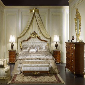 Royal Furniture Antique Hand Carved Gold Bedroom Set, French Rococo Solid Wood King Queen Size Bed