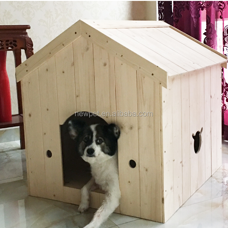2016 hot sale detachable pure solid wood dog pet house with roof