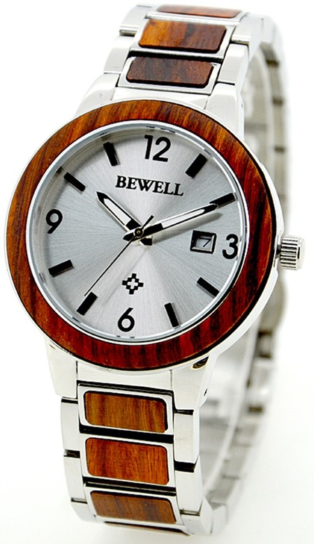 2016 New Stainless steel Metal and Black Sandalwood Bewell Wooden Watch