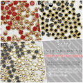 3mm mini half round pearls metal base rhinestone nail art