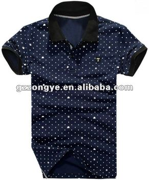 Navy blue cotton Polo shirt for men,dot pattern, short sleeve, turn-down collar