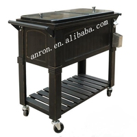 Outdoor Metal Rolling Stainless Steel Cooler with Wheels Ice Cooler Box