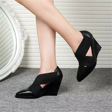 designer elastic band shoes woman wedge sandals 2017 fashion 9cm high heel