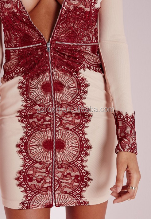 2015 hot selling OEM latest dress design fashion long sleeve dress deep-V sexy dress