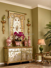 Vintage Furniture Living Room Storage Cabinet, Gilt Floral Painted Wooden Console Cabinet, Hand Carved Sideboard/Buffet
