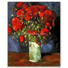 ROYI ART Van Gogh Oil Painting handing on wall decor of Vase with Red Poppies