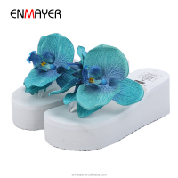 Best selling large canvas flower comfort outsole women beach slipper