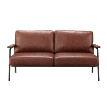 Living Room High Quality comfortable metal frame vintage style PU leather sofa