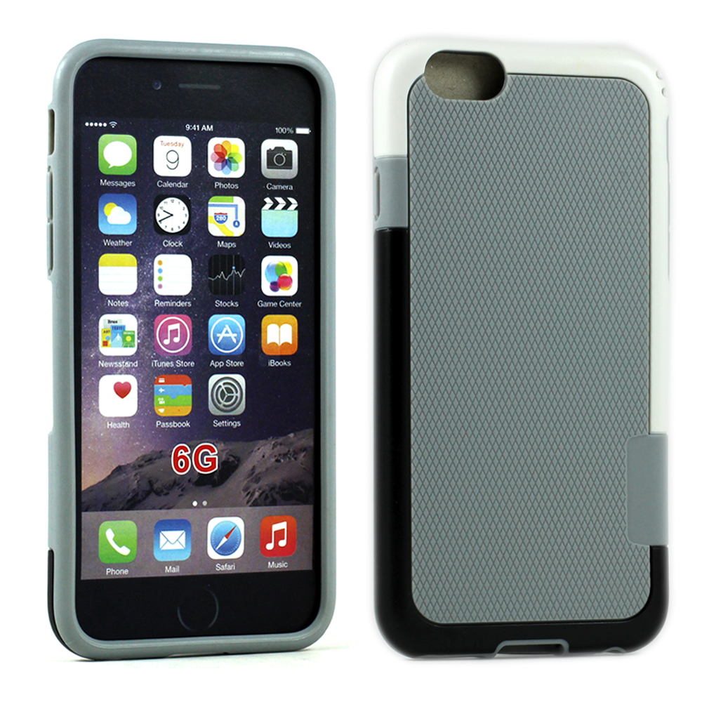 Case For iPhone 6 4.7 Slim Tri Color Hybrid(Gray White)