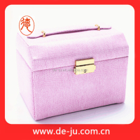 Multi-layer pink PU leather jewelry display cases wholesale