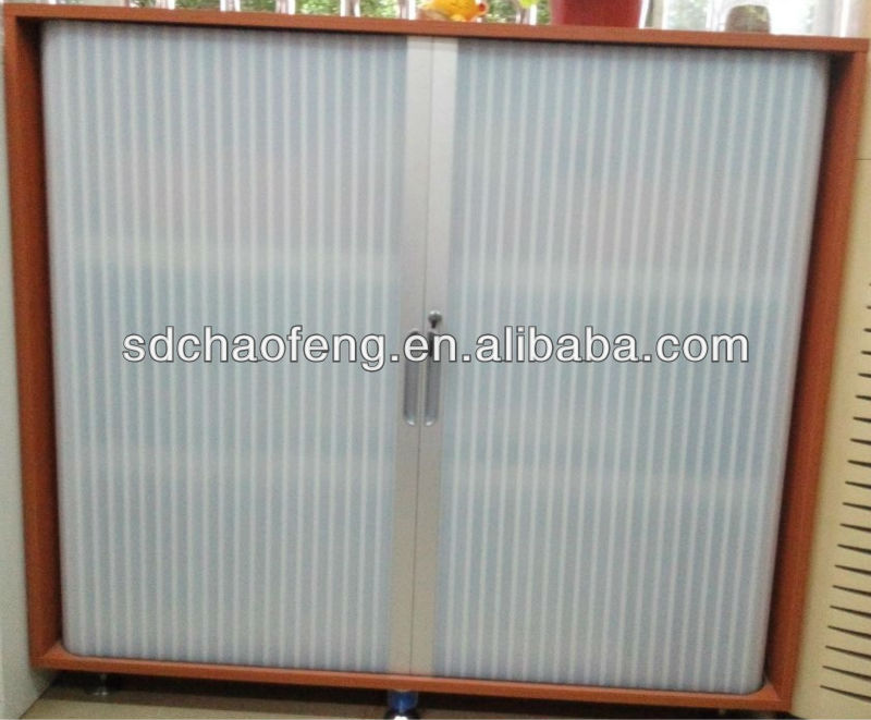 Tambour door with Clear plastic ABS for wooden cabinet