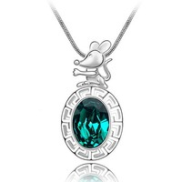 Chinese Stlye Mouse of Chinese Zodiac Swarovski Element Chain Necklace