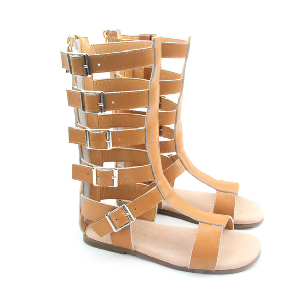 2017 Summer Fashion Glitter and Leather Kids Shoes High Heel Baby Gladiator Sandals Rubber Sole Sandals Girls