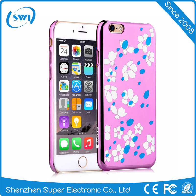2017 New Arrival Candy Colorful Electroplating Plastic PC Mobile Phone Cases Back Cover for iPhone 6 6s Plus