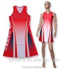 Women All Over Print OEM High Quality Slim Fit Custom Print Netball Uniforms Dress