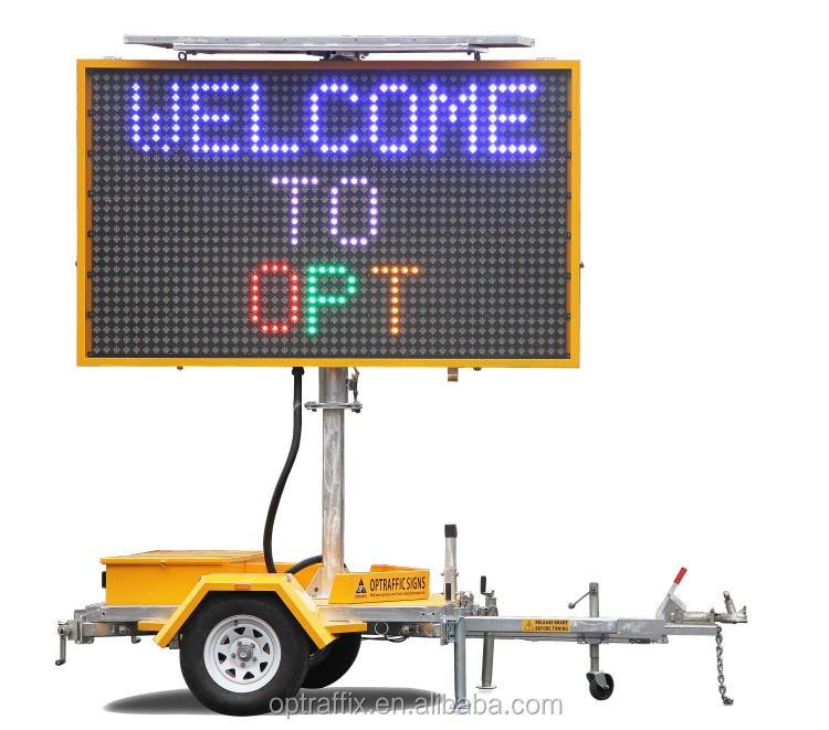OPTRAFFIC TOPSALE Portable Radar Speed Moving Screen Board Road Traffic Control Equipment Led Mobile Trailer Message Sign