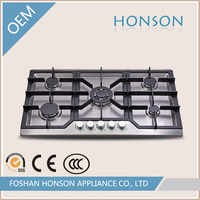 2016 stainless steel built-in 5 burners cast iron with safety device for gas stove HS5825
