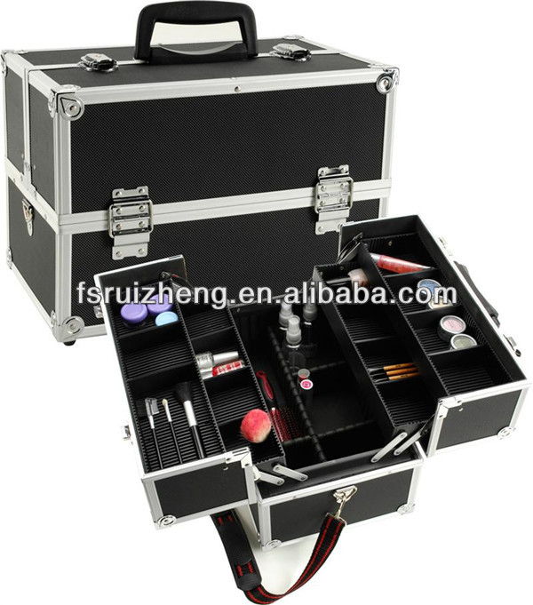 Black professional makeup carrying case for hairdressers with divider RZ-C338