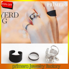 Korean character set 3 pcs Black Pearl Spring rotary joint combination index finger rings female