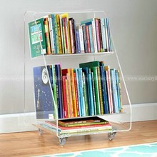 2 Tiered Acrylic Bookcart wth Wheels, Acrylic Book Cart with rolling casters, Lucite Book Display Stands