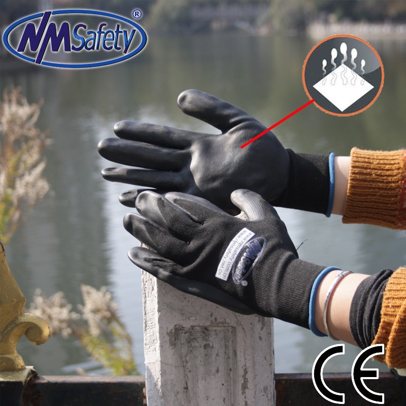 NMSAFETY Good sale popular working glove/nitrile foam dipped gloves/breathable glove