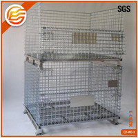 Heavy duty collapsible stacking metal wire storage bins for warehouse logistics