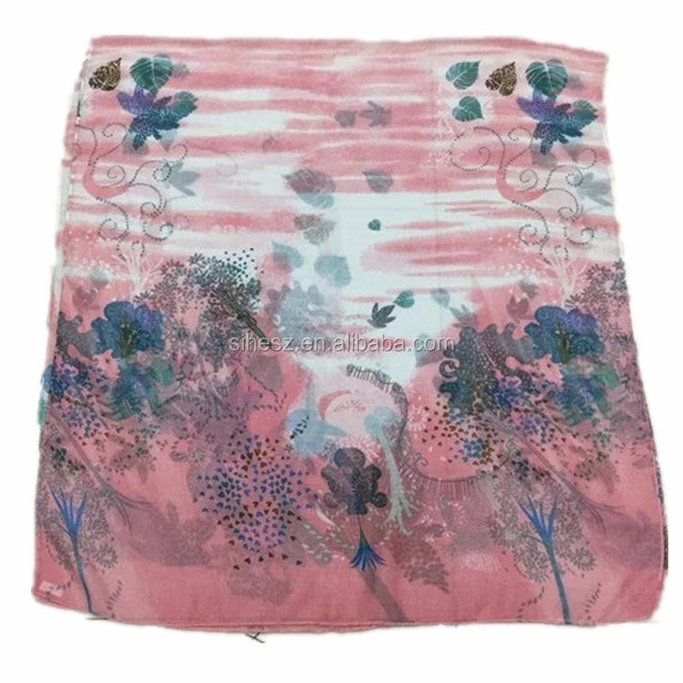 comfortable fabric pink flora square scarf for girl guangzhou scarves market