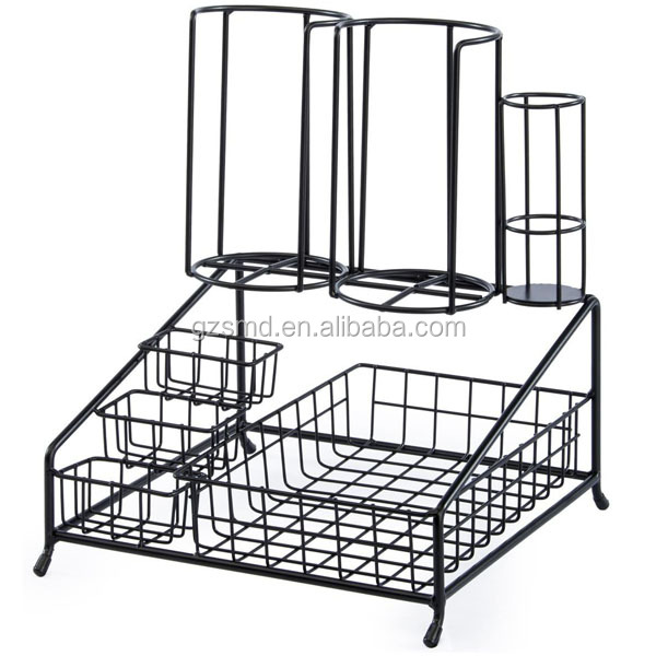 Wholesale Factory Price Black Metal Wire Coffee Condiment Organizer