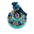 Wholesale Frosted Blue Color Empty Perfume Glass Bottles 40ml with Bird Decorated Cap Metal Stick