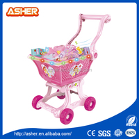 Beautiful fantasy jewelry shopping cart with light music plastic toy pink tool set