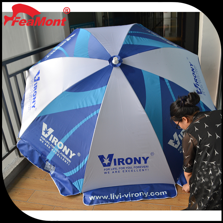 240cm White and Blue Beverage Ads Advertising Beach Umbrella with Custom Logo