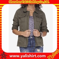 Custom made comfortable slim fit utility cotton multiple pockets wash women military army jacket