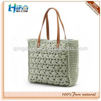 2015 fashion crochet lady's straw beach tote bag