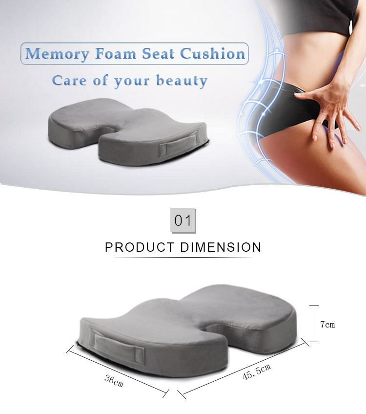 Adult Wheelchair Floor Meditation Outdoor Orthopedic Coccyx Memory Foam Zero Gravity Chair Stadium Car Seat Cushion With Handle
