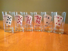 set of 6 vintage 1950s playing card design shot glass
