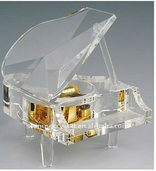 transparent crystal glass piano for ornaments