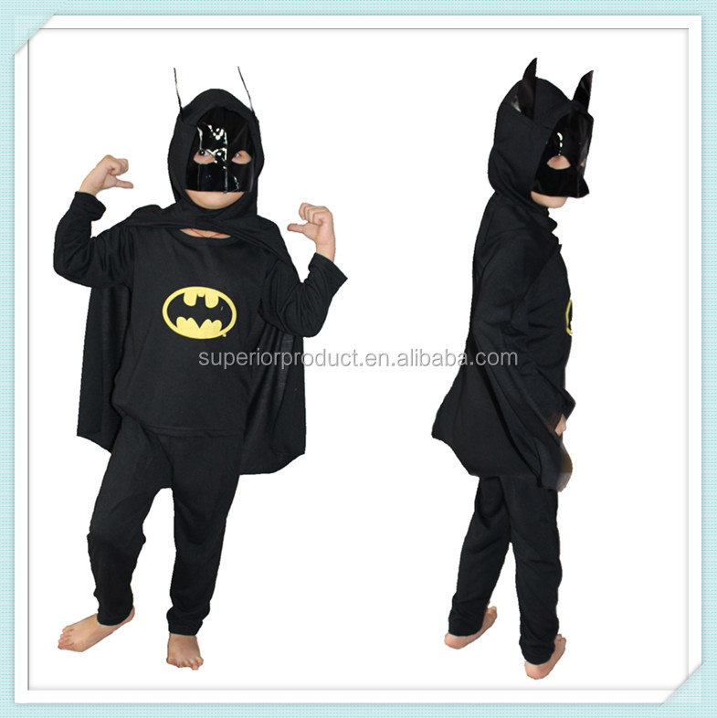 Hot selling halloween sexy bat man cosplay Costumes Kid animal Costumes for party in black color role playing dance suit mask