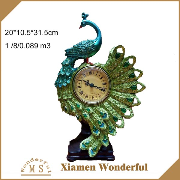 elegant design polyresin peacock table clock for home ornaments
