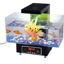 USB Desktop Electronic Aquarium Mini Fish Tank with Water Running LED Pump Light Calendar Alarm Clock