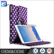 Hot selling universal purple dot pattern design shockproof PU leather tablet case for ipad air 2