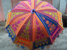 Ethenic traditional Self Standing Garden Umbrella FOLDABLE SUMMER Heavy Handmade New UMBRELLA COTTON EMBROIDERY WORK